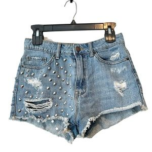 BDG HighRise Cheeky stud distressed jean shorts 27